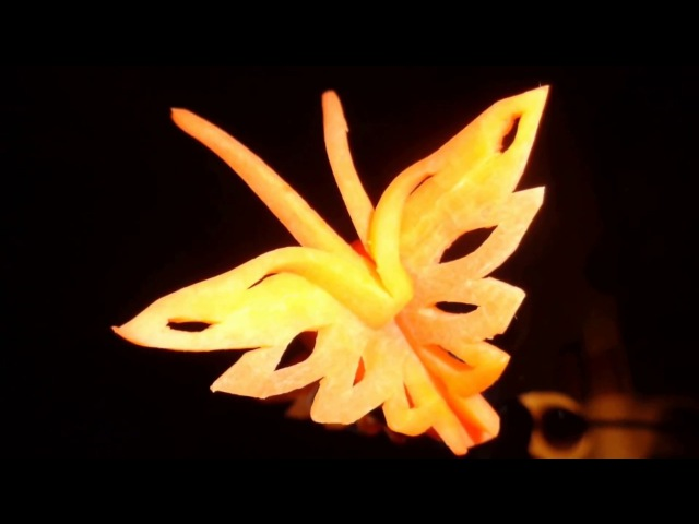 HOW TO MAKE CARROT BUTTERFLY GARNISH - ART IN CARROTS VEGETABLES CARVING - DESIGN CUTTING