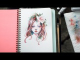 Flower Girl Portrait Watercolor Timelapse by Margaret Morales