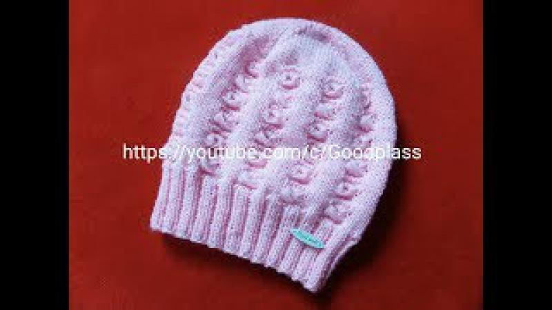 Ажурная, красивая детская шапка. Вязание спицами. Часть 1 Knitting(Hobby).