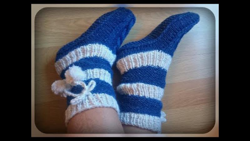 Домашние носки гольфы вязание спицами
