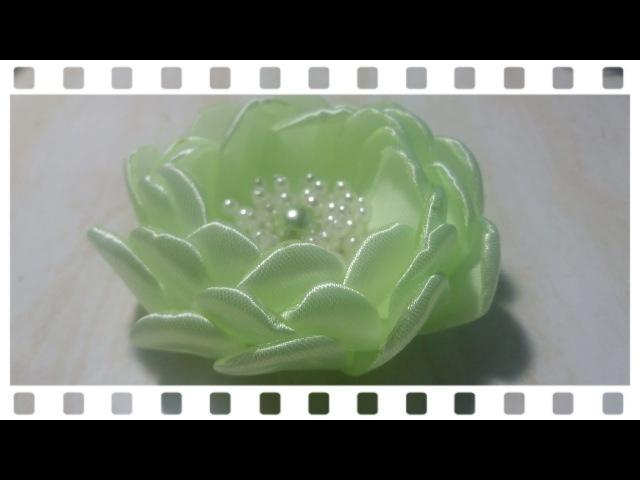 42) DIY - Tutorial || Cara Membuat Bros Bunga Mawar Mangkuk || How to Make Bowl Rose || Ribbon Rose