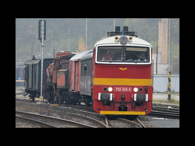 750 308 na Os 11772 přetah parní lokomotivy a 754 007 na R 1144 Mladá Boleslav 5.11.2017