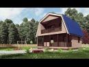 Проект каркасного дома 8*8метров с мансардой крыльцом балконом и ломанной крышей Строй и Живи