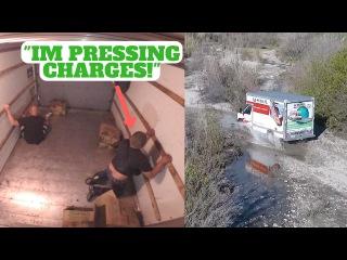 Это было жестоко! Оставили открытый грузовик,а когда туда залезли воры - закрыли его и прокатили их по району 😊