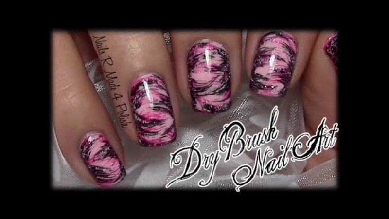 Easy Dry Brush Nails / Quick Messy Nail Art Design (tutorial for beginners with nail polish)