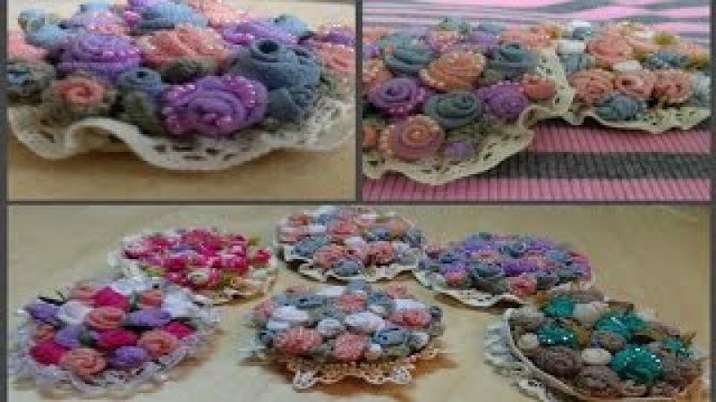 Подарок НА 8 МАРТА Текстильная брошь Букет 💄👢👜 textile brooches