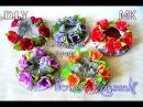 Сеточка на пучок Как украсить сеточку цветами канзаши Flowers Kanzashi D I Y