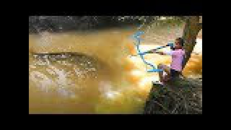 Amazing Girl Uses PVC Pipe Compound BowFishing To Shoot Fish Khmer Fishing At Siem Reap Cambodia