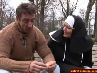 Dutchfantasies.com - Dutch Nun Fucks Homeless Man
