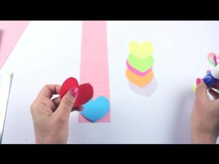 Водопад сердечек двигающаяся открытка своими руками