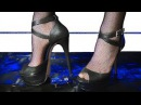 №56 High Heels crush a toy car. Stockings in a grid.