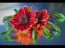 Цветок красной ГАЙЛАРДИИ канзаши из лент, мастер класс / DIY Ribbon Flower Kanzashi
