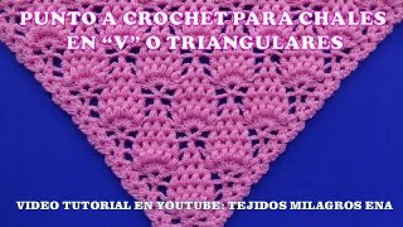 Punto para chal triangular, en V o en punta a crochet paso a paso con puntos garbanzos