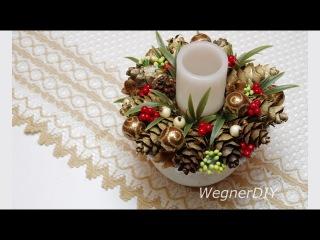 DIY 2018 Christmas decor with cones / новогодний декор без оазиса