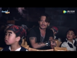Johnny  Depp ride Pirates of The Caribbean with cute kids at Shanghai Disneyland.