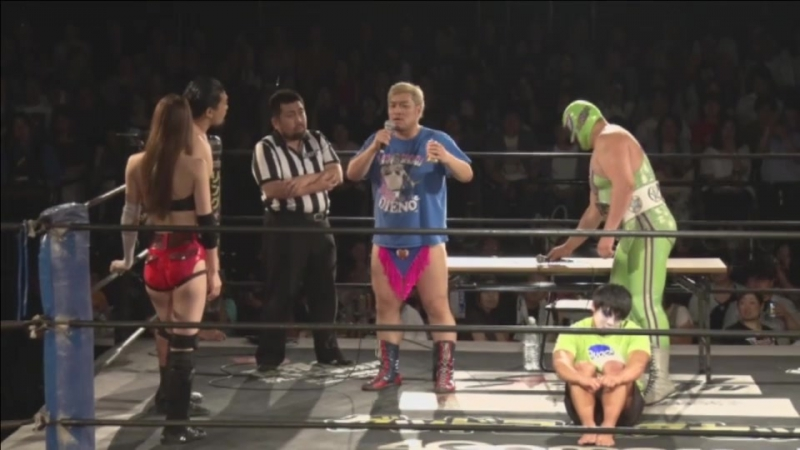 Kazusada Higuchi, Saki Akai vs. Danshoku Dino, Super Sasadango Machine (DDT - Beer Garden Fight 2017 ~ DDT Day ~)