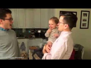 Who's your daddy? Cute moment baby is confused by dad's twin