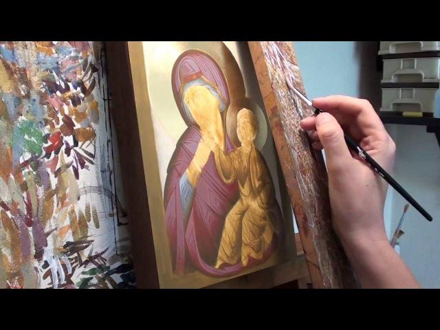 Iconography Tutorial: Painting Theotokos Paramythia Part 2 - The Maphorion (Outer Robe)