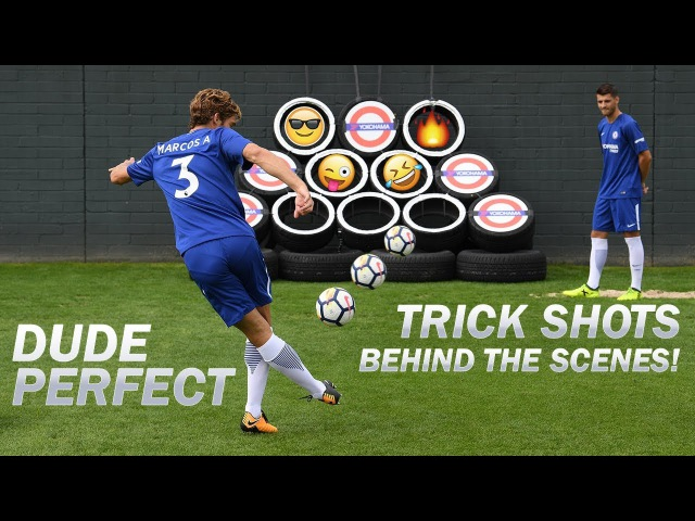 Dude Perfect Trick Shots | Exclusive Behind The Scenes with Morata, Alonso, Cahill, Courtois Luiz!