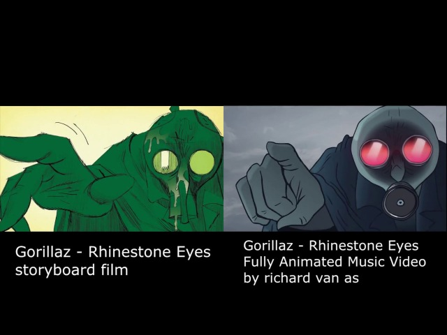 Gorillaz - Rhinestone Eyes - Storyboard Fan Made animation (by richard van as) splitscreen
