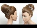 Высокий пучок с плетеным ободком ★ Свадебная прическа для средних волос