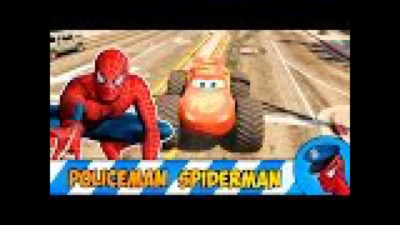 McQueen big foot Car Policeman Spiderman Cartoon with Mickey Mouse for Kids Nursery Rhymes Songs