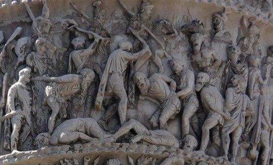 Рельеф с колонны Марка Аврелия, изображающий казнь германских вождей, во время Маркоманских войн.