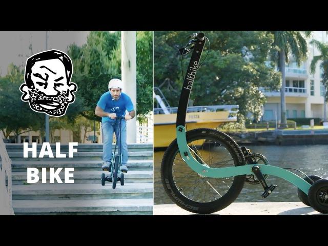 Crazy trike with rear wheel steering! - The Halfbike