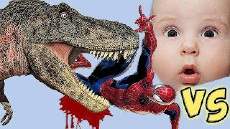 Spiderman Dinosaurs Cartoons For Children - Stop Motion T-Rex Dinosaur - LIFE SIZE DINOSAURS