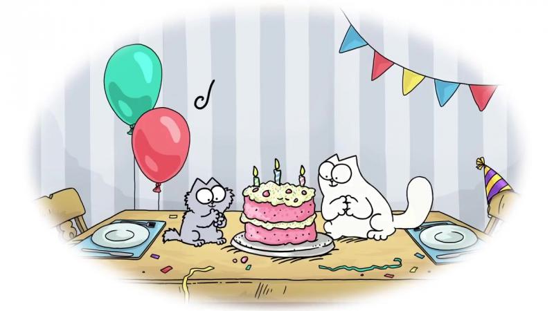 Кот Саймон; рождество, день рождения.