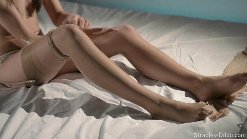 Girl putting on nude pantyhose on full body and tease