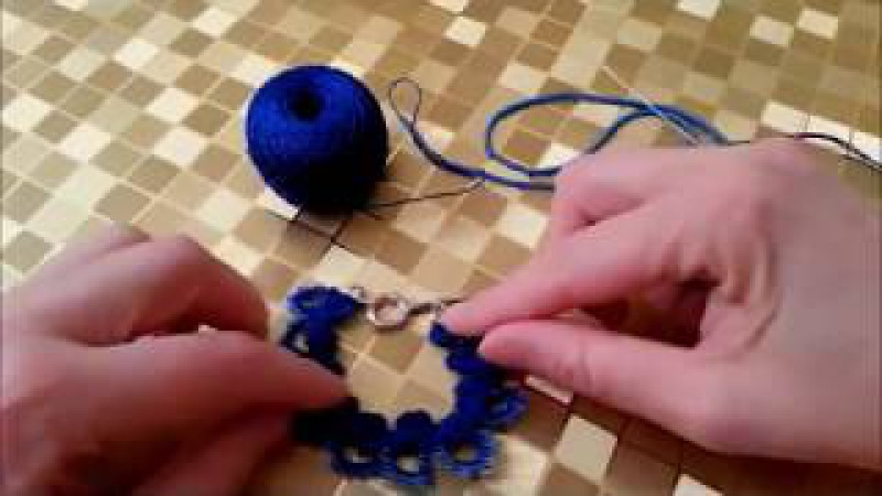 Колье фриволите иглой Frivolité tatting needle tatting ЧАСТЬ 1