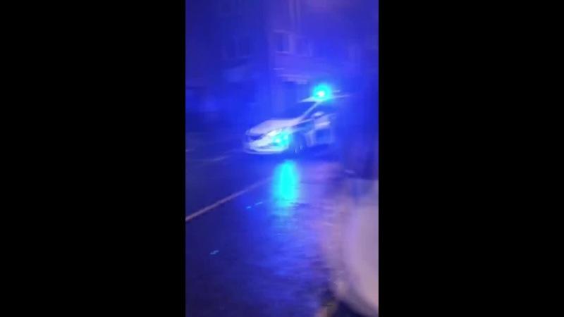 Police car makes an entrance