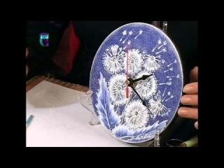 Роспись в технике одного мазка на стекле (One Stroke). Расписываем часы и доску. Масте ...