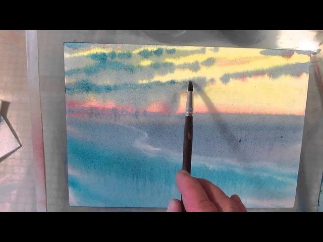 Как рисовать по мокрому зимний вечер в степи. Урок 47