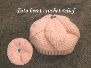 TUTO BERET BONNET FEUILLE RELIEF CROCHET hat relief crochet GORRO RELIEVE CROCHET