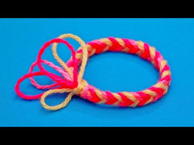 Как сплести браслет на пальцах | Плетение браслетов из ниток