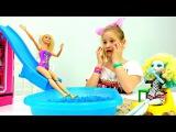 Мультик Барби: БАССЕЙН ДОМА 🌊 с горкой! Куклы Барби и #МонстерХай / Видео для Детей