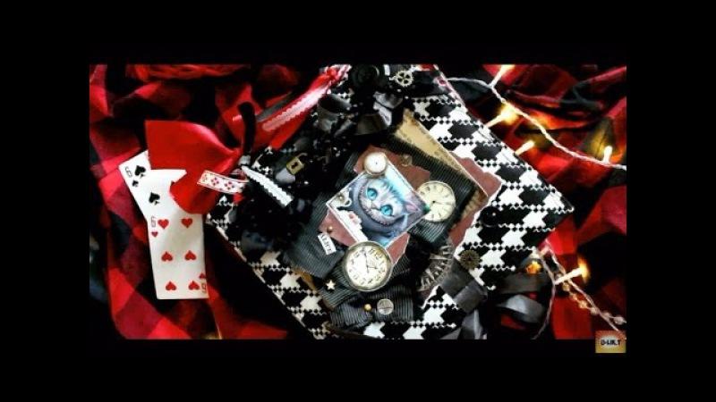 Алиса в стране чудес DIY фотоальбом ручной работы обзор 2017 2018 скрапбукинг альбом Чеширский кот