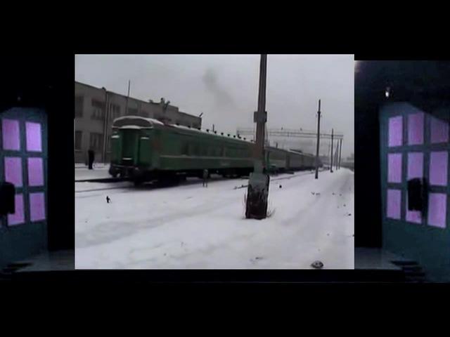 Краш-тест электрички ЭР-1 и тупикового бруса. Crash-test train ER-1 and cul-de-timber