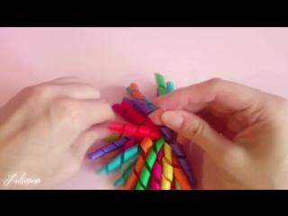 МК_ Детские заколки фонтанчики (спиральки) из репсовых лент своими руками. Спосо