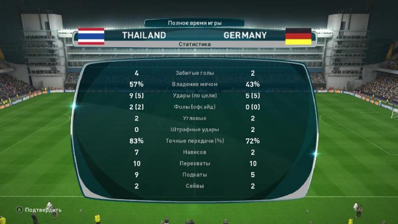 Тайланд - Германия второе дыхание в 1 овер тайме