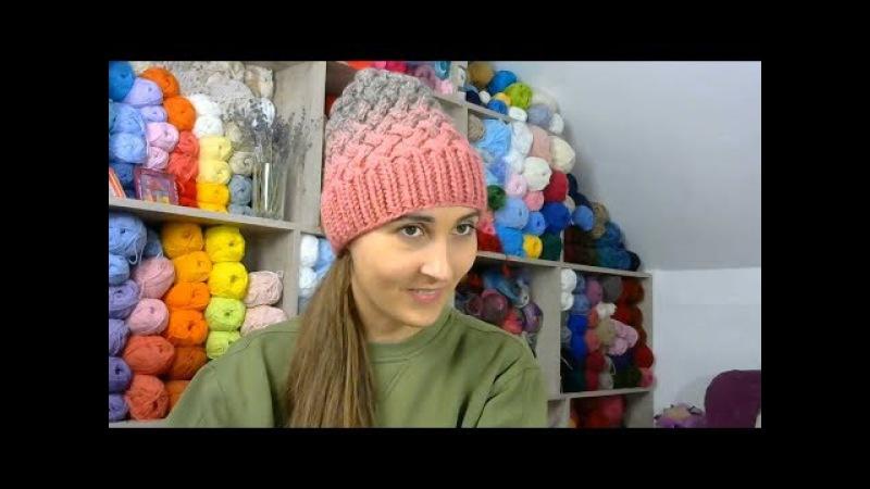 Шапки онлайн Выпуск 10 Часть 2 Макушка у шапки узором плетенка Прямой эфир с Instagram