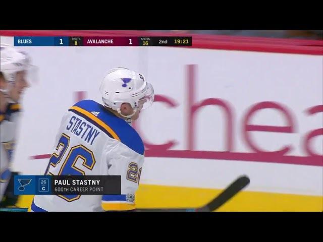 Vladimir Tarasenko assists on Paul Stastny NHL 600th point (2017)