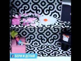 Как сделать кукольный домик с мебелью из коробки.