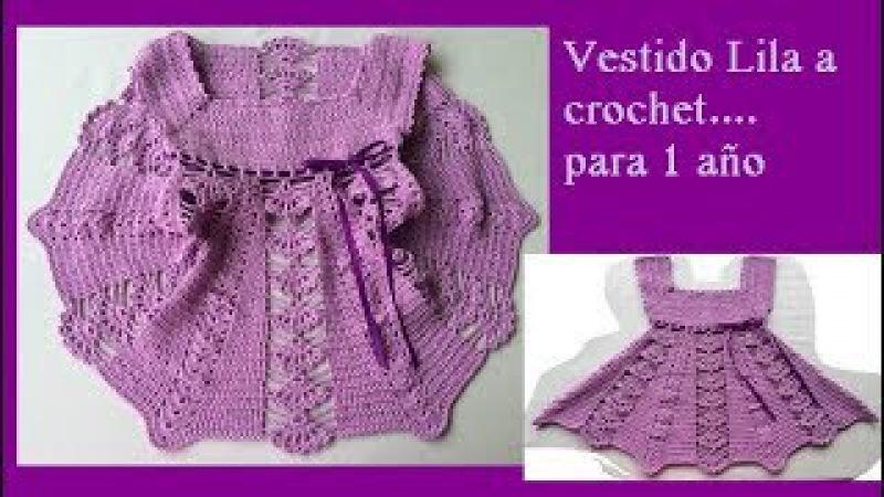 Vestido lila a crochet para 1 año ( parte 1)
