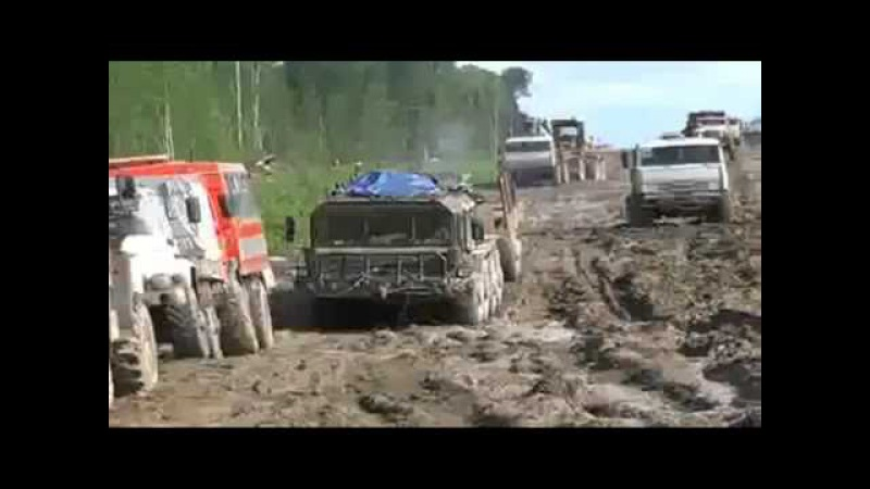 Big trucks stuck in the mud, amazing russian trucks,excavator at work, extreme trucks off