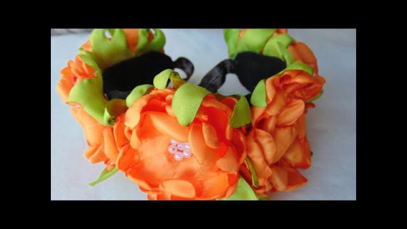 Tocado de flores en banda elástica flores de cempasuchitl