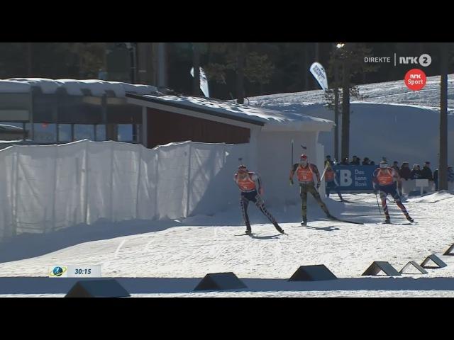 Arnd Peiffer vs Simon Eder vs Emil Hegle Svendsen - finish of pursuit - Kontiolahti 2017