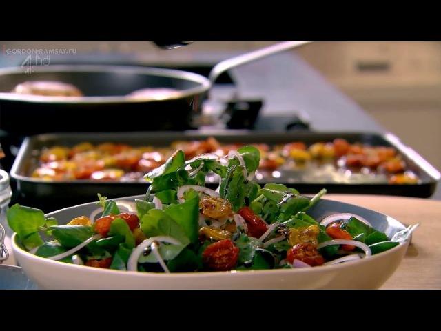 Котлетки из халуми и кабачка , салат из помидоров и кресс-салата